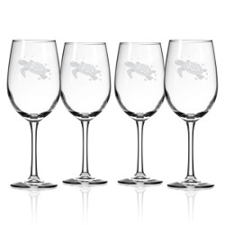 Sea Turtle White Wine Glasses  S/4