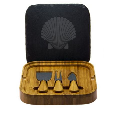 Fan Shell Square Cheese Set with Tools