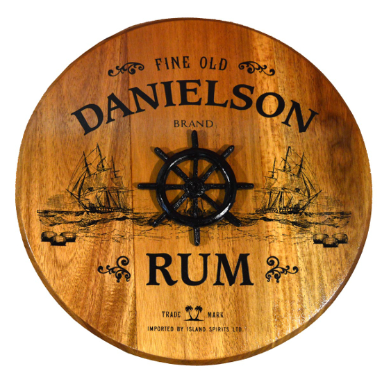 Personalized Ship Wheel Barrel Head Sign