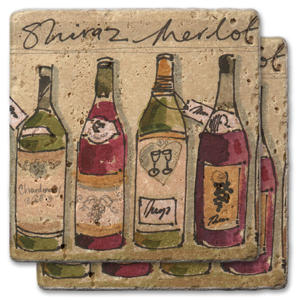 Shiraz and Merlot Stone Coasters (set of 2)