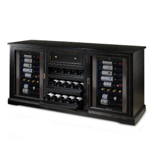 Siena Wine Credenza - Nero with Two 28 Bottle Touchscreen Wine Refrigerators