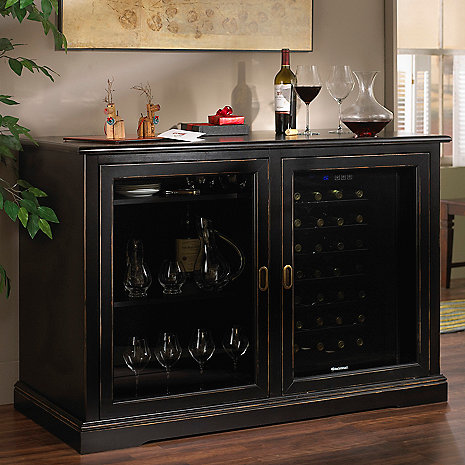 Siena Mezzo Wine Credenza - Nero and Two 28 Bottle Touchscreen Wine Refrigerators