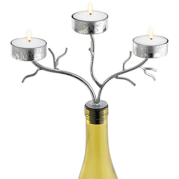 3-Tealight Silver Branches Wine Bottle Candelabra