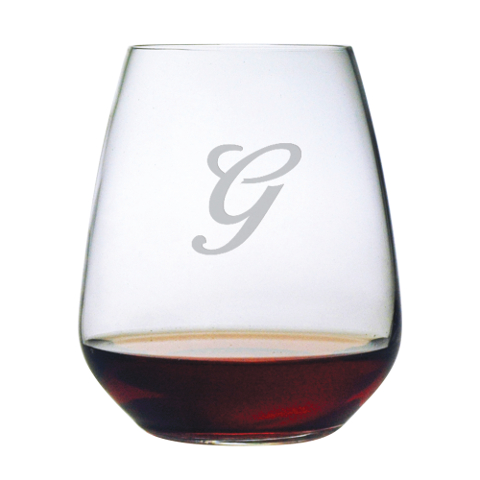 Single Letter Monogram Stemless Wine Glasses (set of 4)
