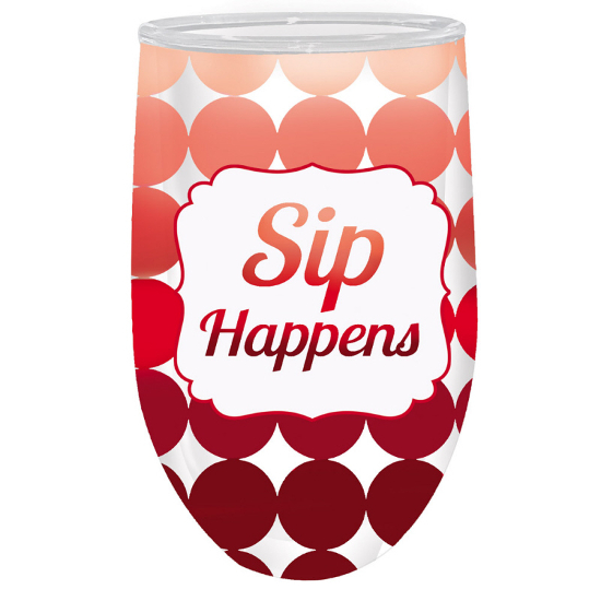 Sip Happens Double Wall Stemless Acrylic Wine Glasses (set of 2)