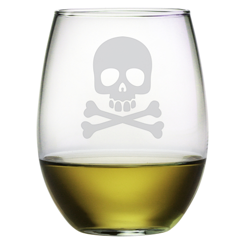 Skull and Crossbones Stemless Wine Glasses (set of 4)