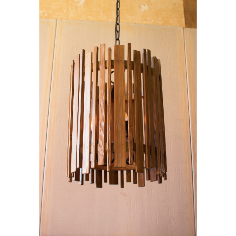 Slatted Wood Pendant Light
