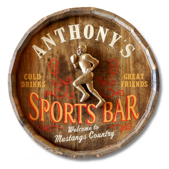 Sports Bar Personalized Quarter Barrel Sign