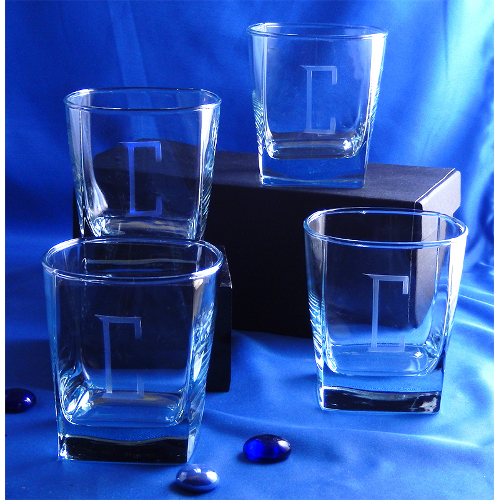 Monogrammed Square Sterling On the Rocks Glasses (set of 4)