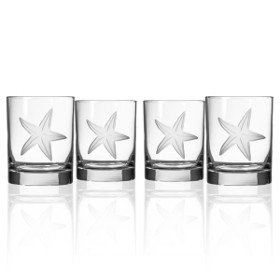 Starfish Double Old Fashioned Glasses (set of 4)