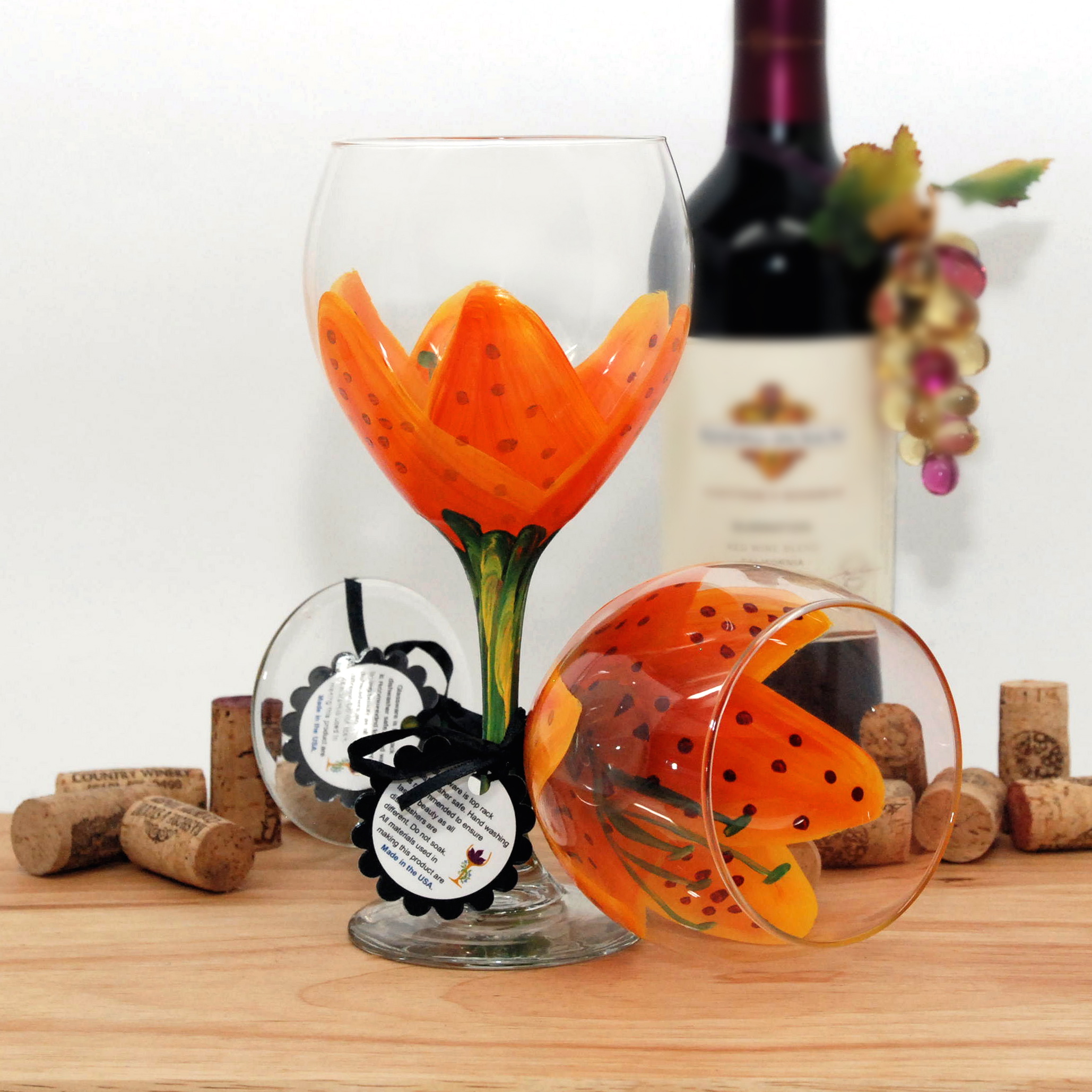 Handpainted Orange Tiger Lily Wine Glass