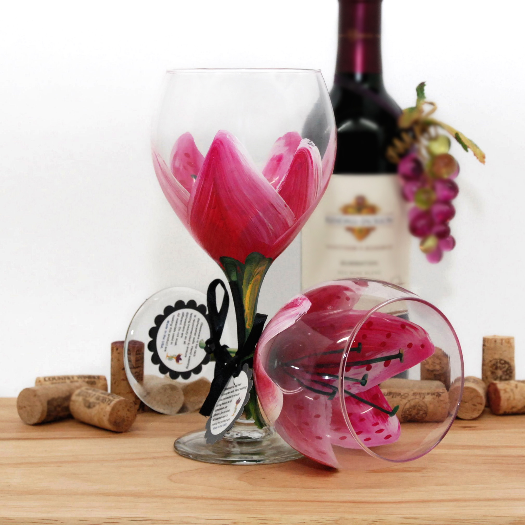 Handpainted Magenta Stargazer Lily Wine Glass