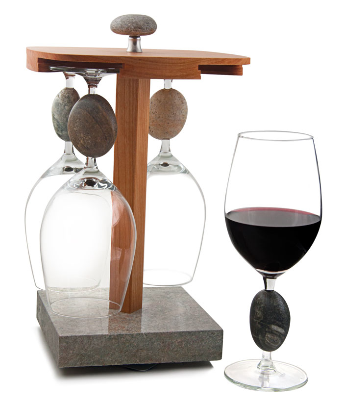 Stone Wine Glasses with Pirouette Wine Glass Caddy