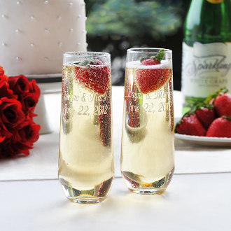 Stemless Champagne Toasting Flutes (set of 2)