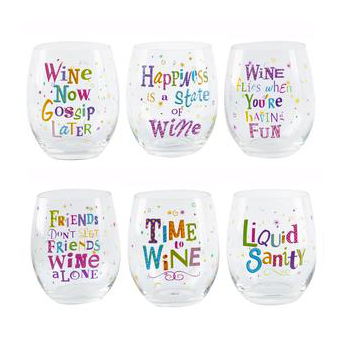 Wine Humor Stemless Wine Glasses (set of 6)