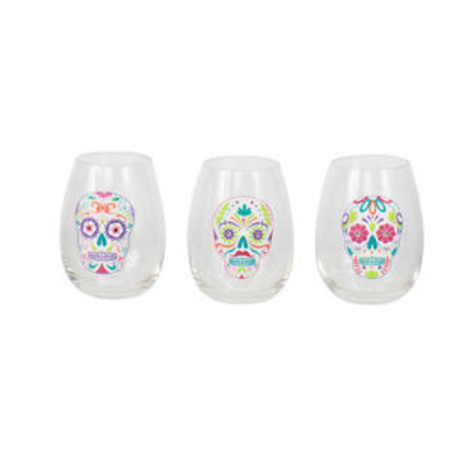 Painted Skull Stemless Wine Glasses (Set of 3)