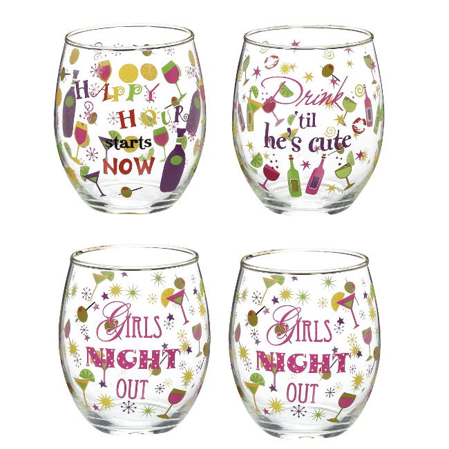 Wine Girlz Stemless Wine Glass Set