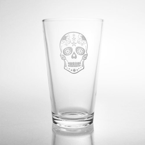 Sugar Skull Pint Glasses (set of 4)