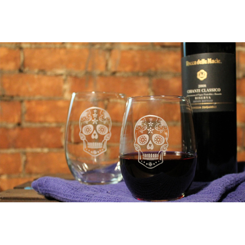 Day of the Dead Sugar Skull Wine Tumblers (set of 4)