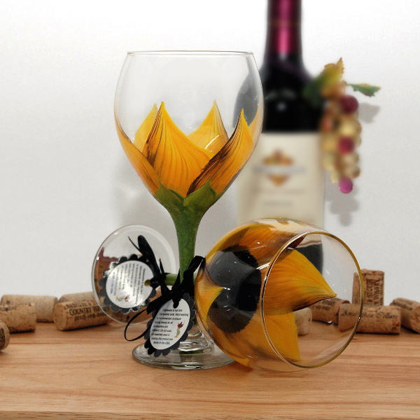 Handpainted Autumn Yellow Sunflower Wine Glass