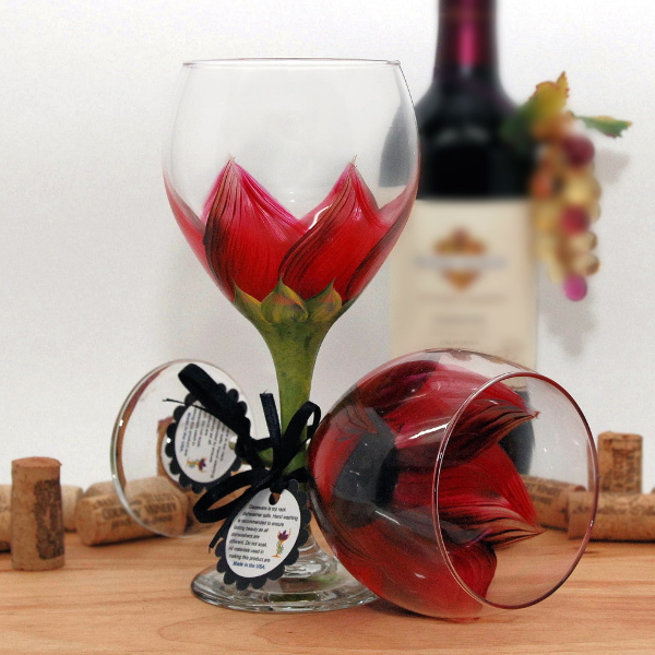Handpainted Autumn Red Sunflower Wine Glass