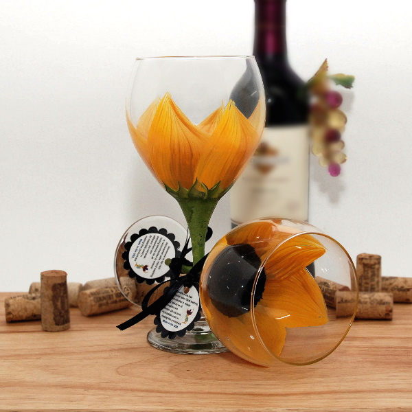 Handpainted Sunny Yellow Sunflower Wine Glass