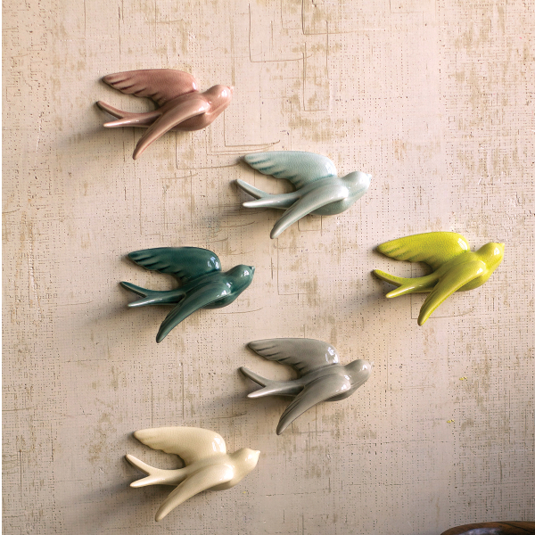 Ceramic Swallows Wall Decor (set of 6)