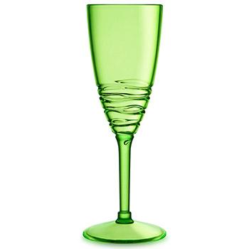 Swirl Acrylic Champagne Glasses - Green
