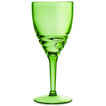 Swirl Acrylic Wine Glasses - Green (set of 6)