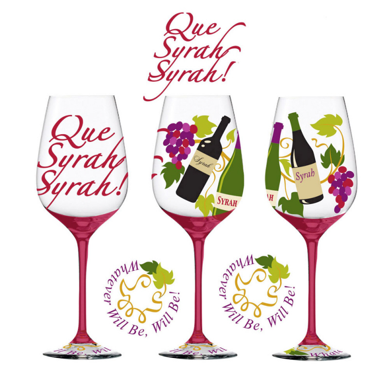 Que Syrah Syrah Hand Decorated Wine Glass