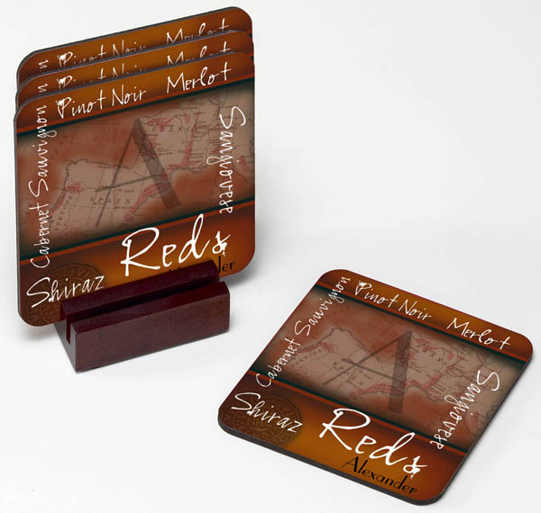 Red or White Wine Personalized Wine Coasters
