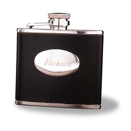 Stainless Steel Leather Flask - Engraved