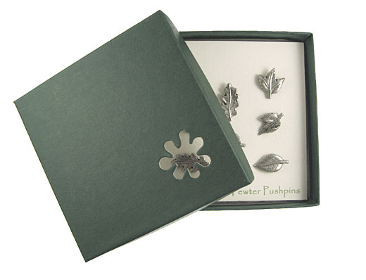 Leaf Pewter Pushpins