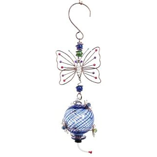 Blown Glass Butterfly Bird Feeder