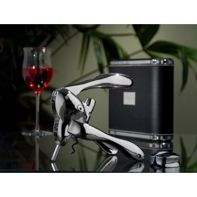 Metrokane VIP Rabbit Lever-Style Wine Opener - Black Leather