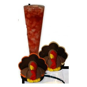 Thanksgiving Turkeys Plush Stemware Coasters (Set of 2)