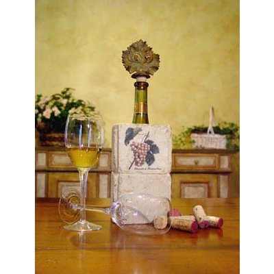 Botticino Marble Canister Wine Cooler w/ Grape Design