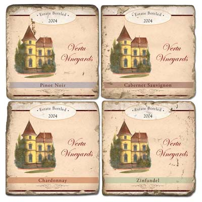 Chateau Personalized Marble Coasters