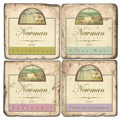Personalized Italian Marble Coaster Set