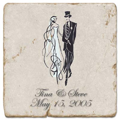 Wedding Bride and Groom Marble Trivet