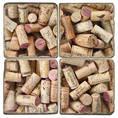 Wine Corks Marble Coasters