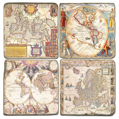 Maps Marble Coasters