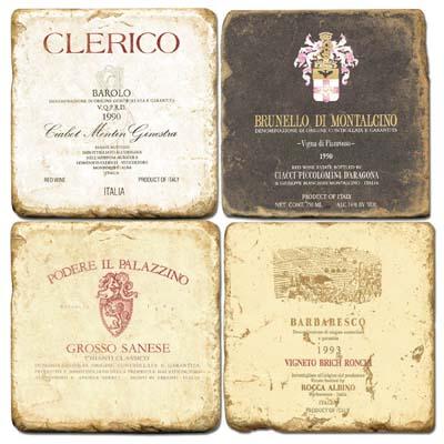 Italian Wine Tumbled Marble Drink Coasters