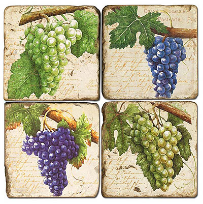 Grapes Italian Marble Coasters