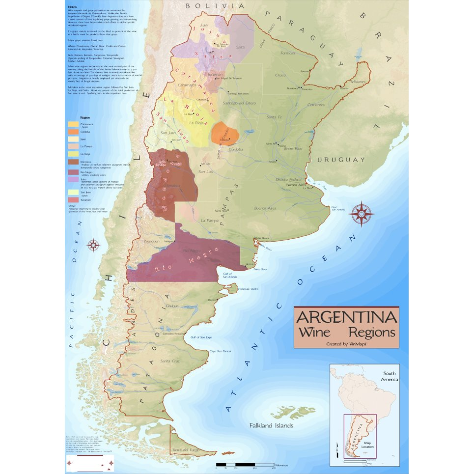 Wine Regions of Argentina Map