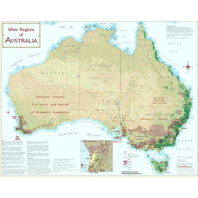 Wine Regions of Australia Map