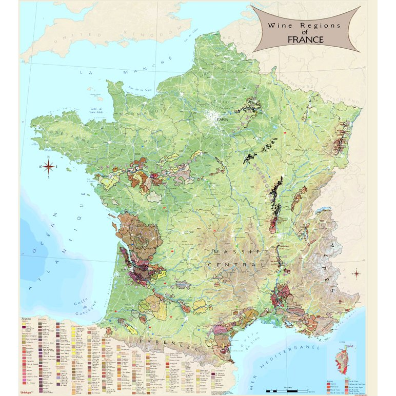Wine Regions of France Map