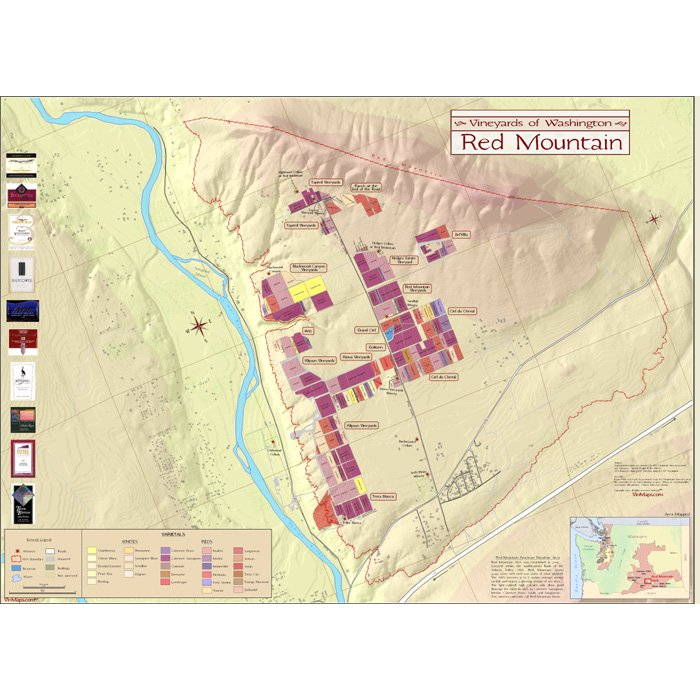 Vineyards of Washington: Red Mountain Wine Map