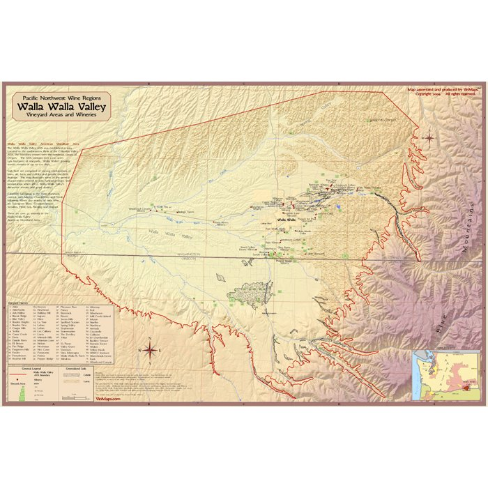 Pacific Northwest Wine Regions: Walla Walla Valley Wine Map