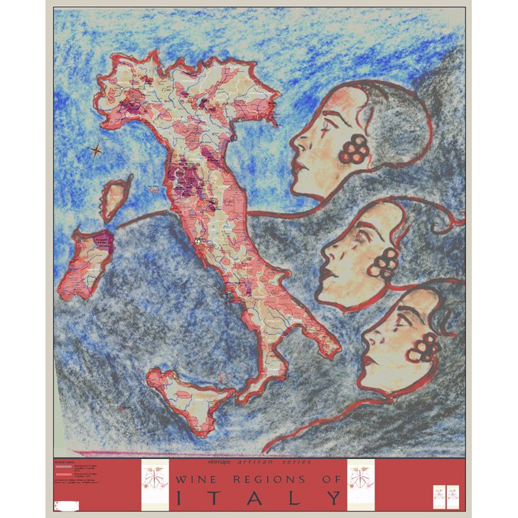 Artisan Wine Regions Map of Italy, Tre Donne